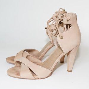 Gianni Bini Cross Open Toe Lace Up Heels Nude 9